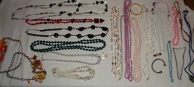 Lot of  Vintage Costume Jewelry Glass Beads Necklaces AS IS