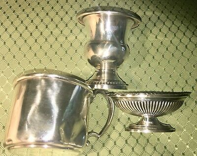 Lot Of 3 Sterling Vintage Baby Cup, Toothpick Holder, Small Bowl
