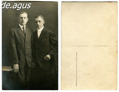 Vintage Postcard Photo circa 1930s two young men in suits