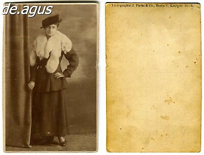 Vintage Postcard Photo circa 1930s young woman wearing fox stole