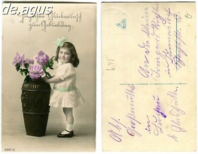 Vintage Postcard circa 1930s very sweet little girl with flowers