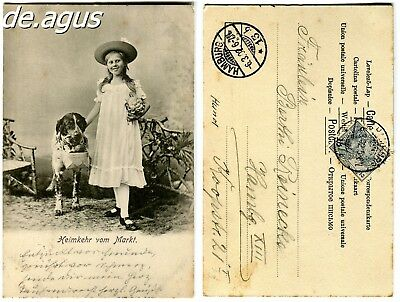 Vintage Postcard from girl with very cute dog
