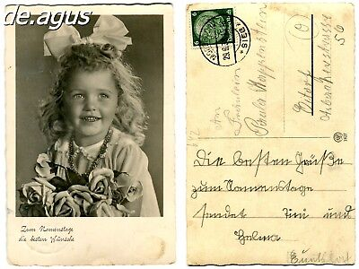 Vintage Postcard stamped 1936 sweet little girl with flowers