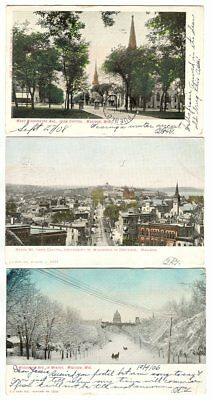 3 Madison Wisconsin Postcards State St. Washington Ave. 1906 Cooper Collection