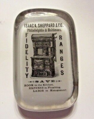 Antique Glass Advertising Paperweight Isaaca Sheppard Phila Fidelity Ranges