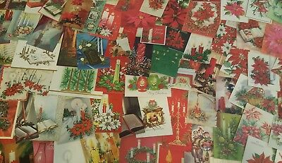 Lot 140 VINTAGE CHRISTMAS GREETING CARDs candles poinsettias Bells scrapbooking