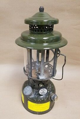 1975 Coleman Mil-Spec lantern Quadrant Glass funnel 2 sun flame mantles 3pc cap