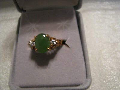 "Vintage Genuine Jade Clear Rhinstones 7"" Goldtone Ring"