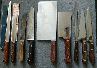 Lot of 9 Vintage Chef Kitchen Knife Knives Cutco Dexter Case xx Victorinox