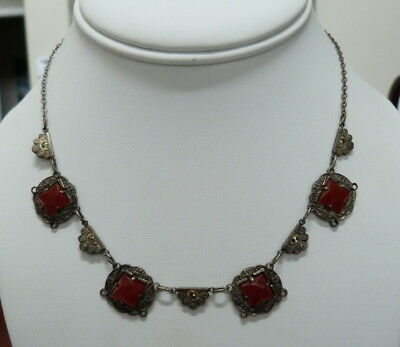 Antique Vintage Later Victorian Or Art Deco Faceted Carnelian Marcasite Necklace