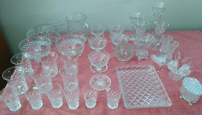 GLASSWARE appears to be VINTAGE CRYSTAL DIAMOND CUT & 2 figereens
