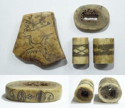 3686 Antique Ainu A part of four parts of the bone engraved collar of Ainu  tun2