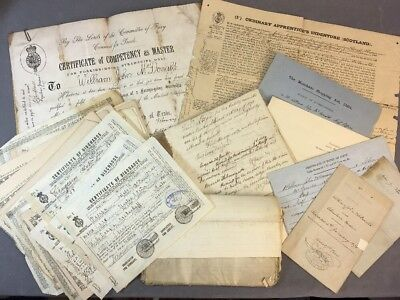 Trove of 19th c. Scottish Merchant Seaman's Papers Indenture Certs of Discharge