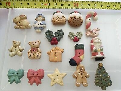 18 Handpainted Porcelain Buttons (Giggle Buttons) Christmas / Teddy Bear / Doll