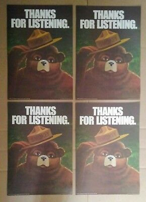 4 Vintage Smokey Bear Thanks For Listening Forest Fire Prevention Posters 1974
