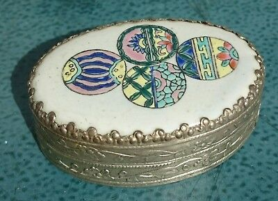 Vintage silver Plate And Enamel Pill/Snuff box