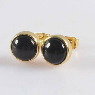 9mm Round Black Agate Bezel Stud Earrings Gold Plated T065012