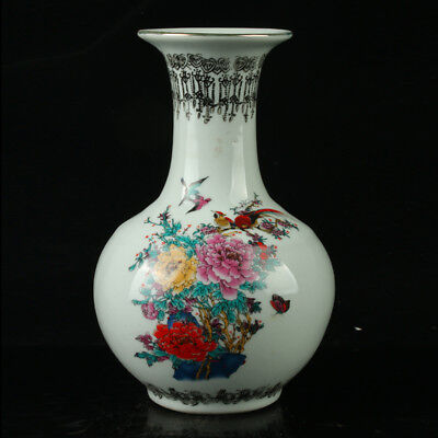 Chinese Porcelain Hand-painted Flowers & Birds Vase W Qianlong Mark R1129+b