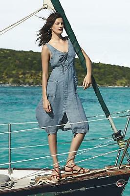 Anthropologie Chambray Atoll Midi Dress Lace Up 10