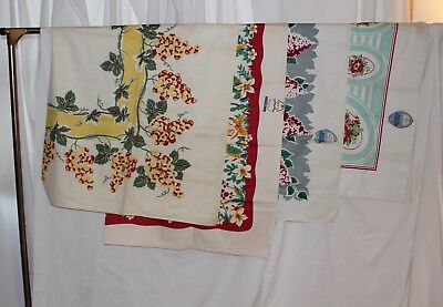 vintage tablecloth lot 4 pc Marlene Linens, Bond Tex, 3 nwt need soaking 40s 50