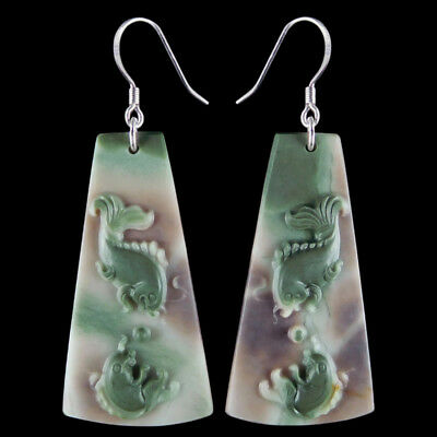 Carved Fish Silver Earring EJ900405