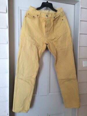 Vintage Levi 501 Yellow High Waisted Button Jeans Original Size 13
