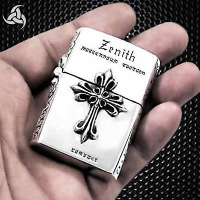 Knights Templar Cross Solid Sterling Silver Lighter Handcrafted Biker Medieval