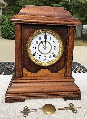 1890's Antique Seth Thomas Bracket Mantel Clock Working In Aged Oak