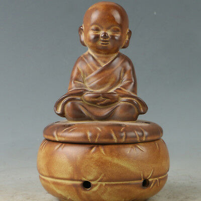 Chinese Yixing Sand-fired(ZiSha)  Incense Burner Hand Carved Buddhism RZ004+a