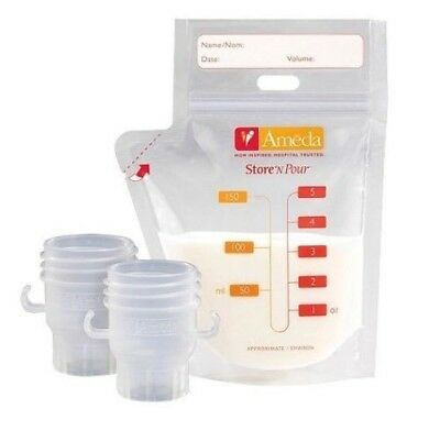 Ameda Store'N Pour Milk Storage Bags 150 Counts w/ 2 Adapters (In a Sealed Box)