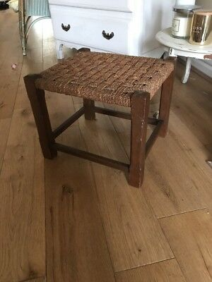 Vintage Retro Woven Stool Brown - country living