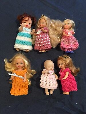 6 Hand Knitted Doll Clothes For 4 Inch Doll