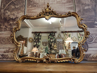Exceptional Antique Style French Rococo Gilt Gold Large Bevelled Mirror.