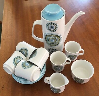 J&G Meakin Aztec Coffee Set, 6 cups & saucers, milk jug, coffee pot, sugar bowl