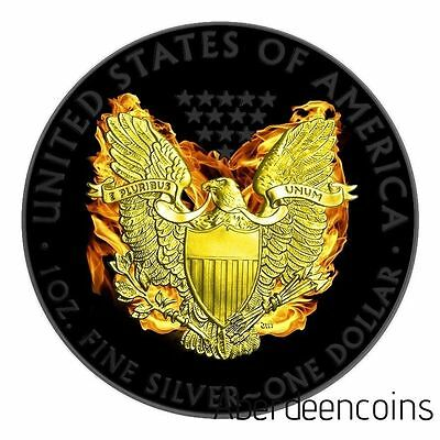 2015 1oz $1 American Phoenix Silver Eagle Black Ruthenium 24k Gold Gilded Coin