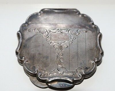 Art Deco Engraved 800 Silver Powder Compact with Mirror