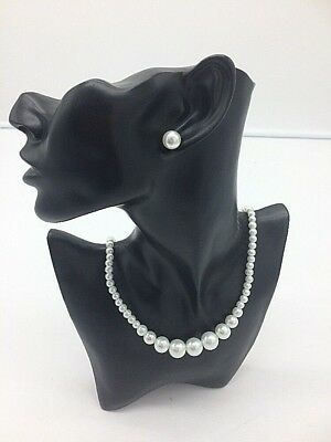 Venetti Glass Pearl Necklace And Stud Earring Set