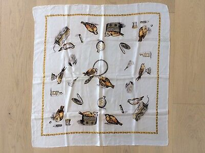 Vintage 1950s Birds and Beauty Products Novelty Print Large Scarf