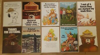 10 Diff Vintage Smokey Bear - Woodsy Owl -  Forest Fire Prevention Posters 70's