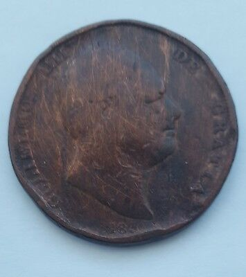 1834 William IV  One Penny Coin United Kingdom