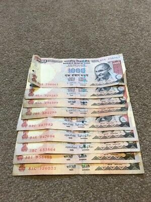 Reserve Bank of INDIA  1,000 Rupees Banknotes x 9