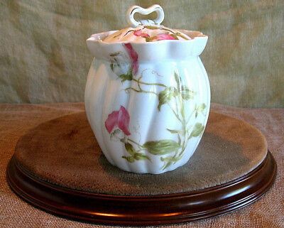 ANTIQUE LIMOGES SUGAR BOWL  preserve jam pot SWEET PEA DECORATION  A. LANTERNIER