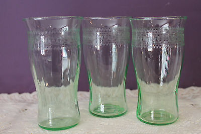 Set Of 3 Vintage Green Depression Glass Tumbers - Rib Optic With Etching