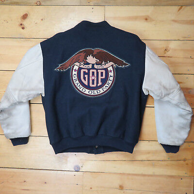 Republican American Classic Large Varsity Jacket - Leather Sleeves GOP - Trump