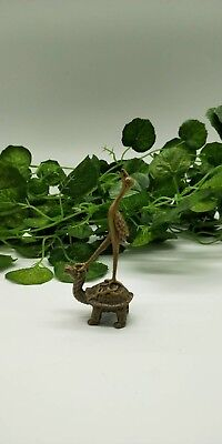 Ancient bronze Chinese tortoise and crane ornaments