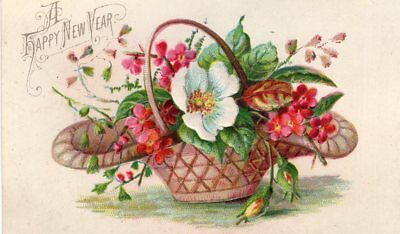1800's Victorian Card - A Happy New Year - Basket Of White & Pink Flowers