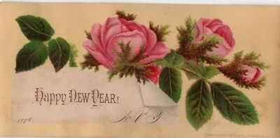 1800's Victorian Card - Happy New Year - Roses - Selling Lot Of Cards