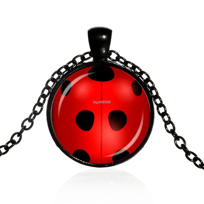 Black Miraculous Ladybug Cabochon Black Glass Chain Pendant Necklace