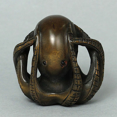 "1940's Japanese handmade Boxwood Wood Netsuke ""octopus"" Figurine Carving BZY23"