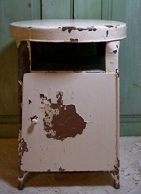 vintage shabby white chippy paint metal storage industrial milking stool
